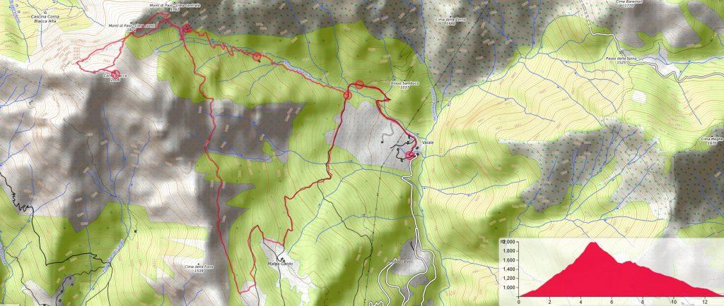 cartina illustrante la zona della Corna Blacca