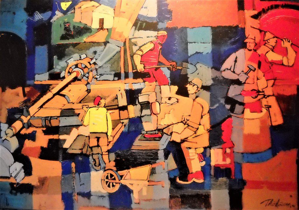 dipinto in olio rappresentante il lavoro in una fucina