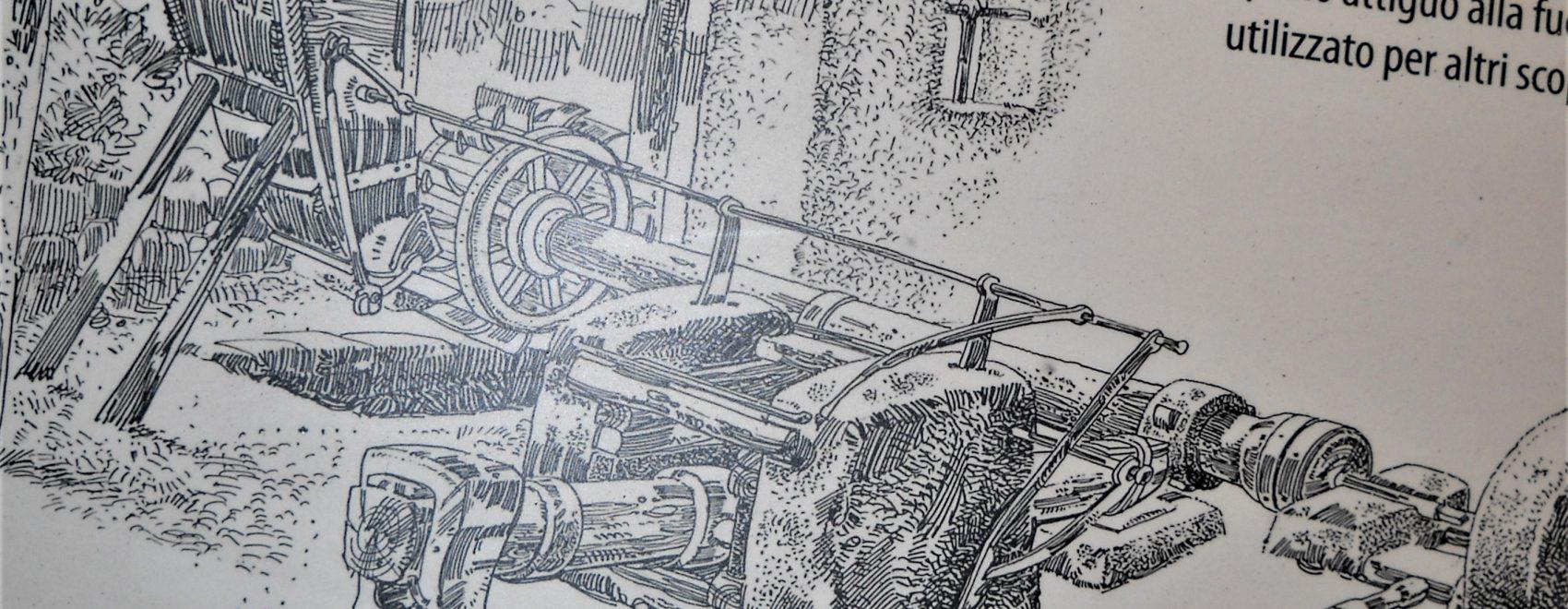 schizzo di una fucina con maglio