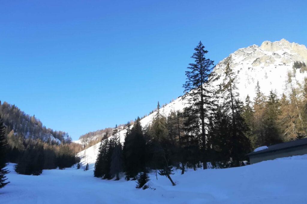 Sullo sfondo il Goletto e sulla destra le vette frastagliate del monte Colombina
