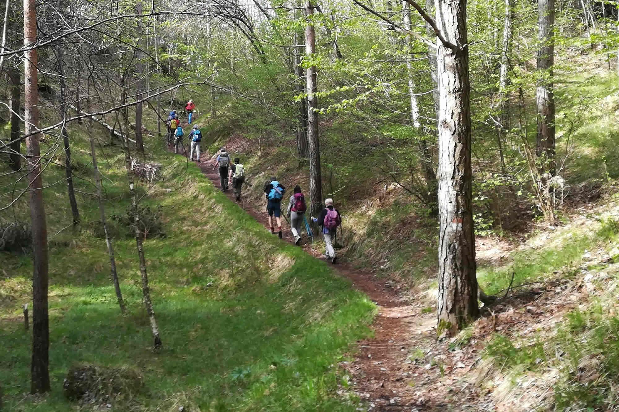 Escursionisti percorrono la dorsale verso il Mt. Breda