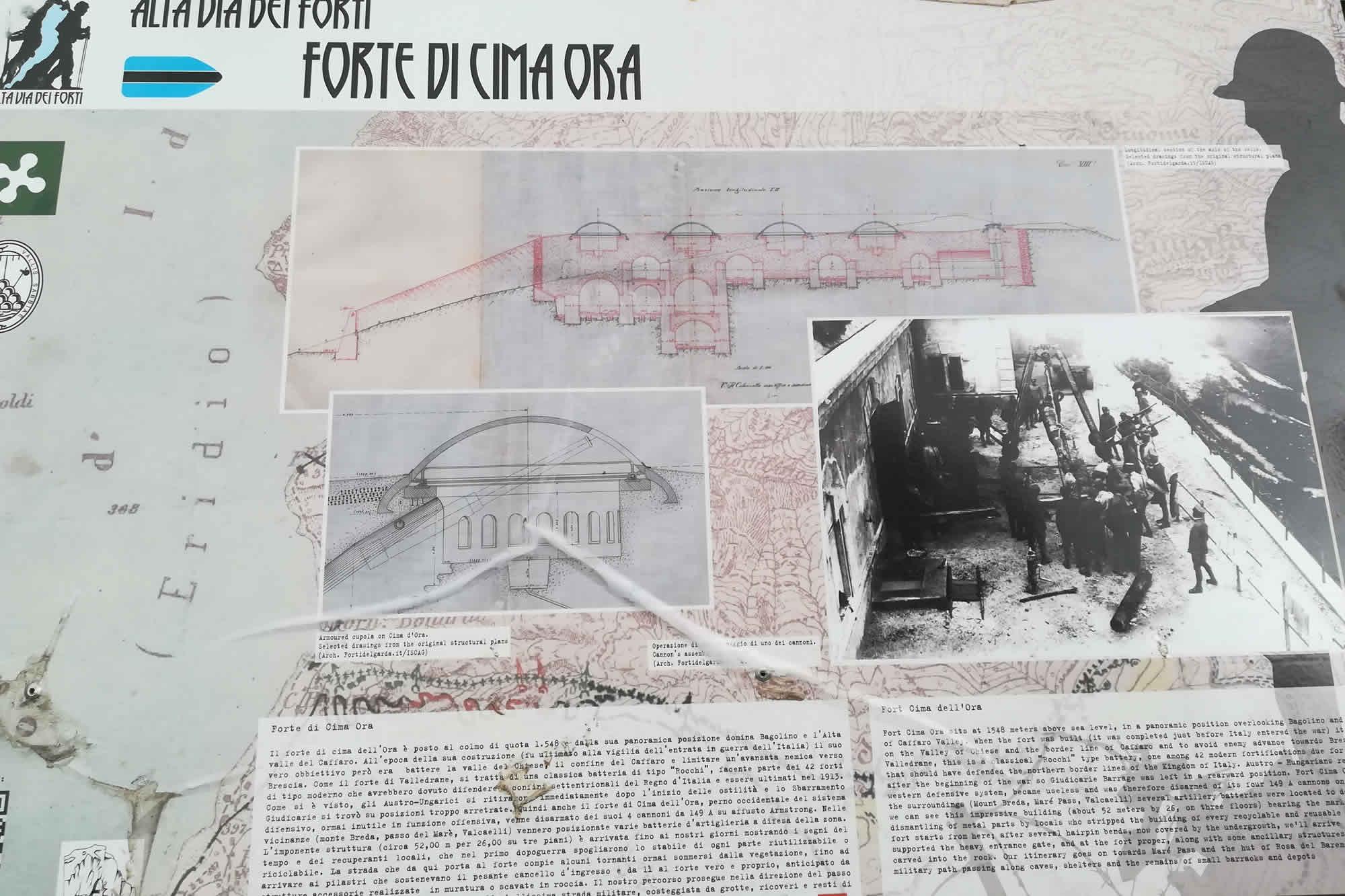 Pannello ewsplicativo sul funzionamento del forte